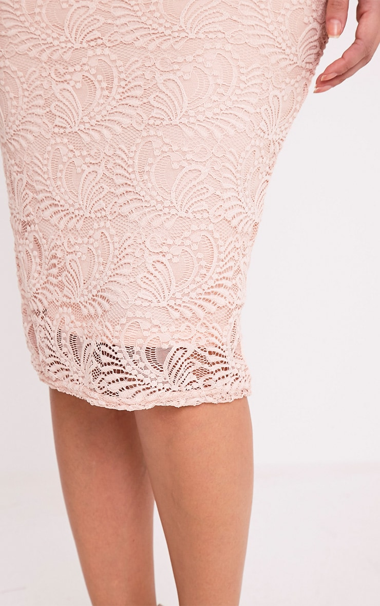 Mikalia Nude Strappy Lace Midi Dress 6