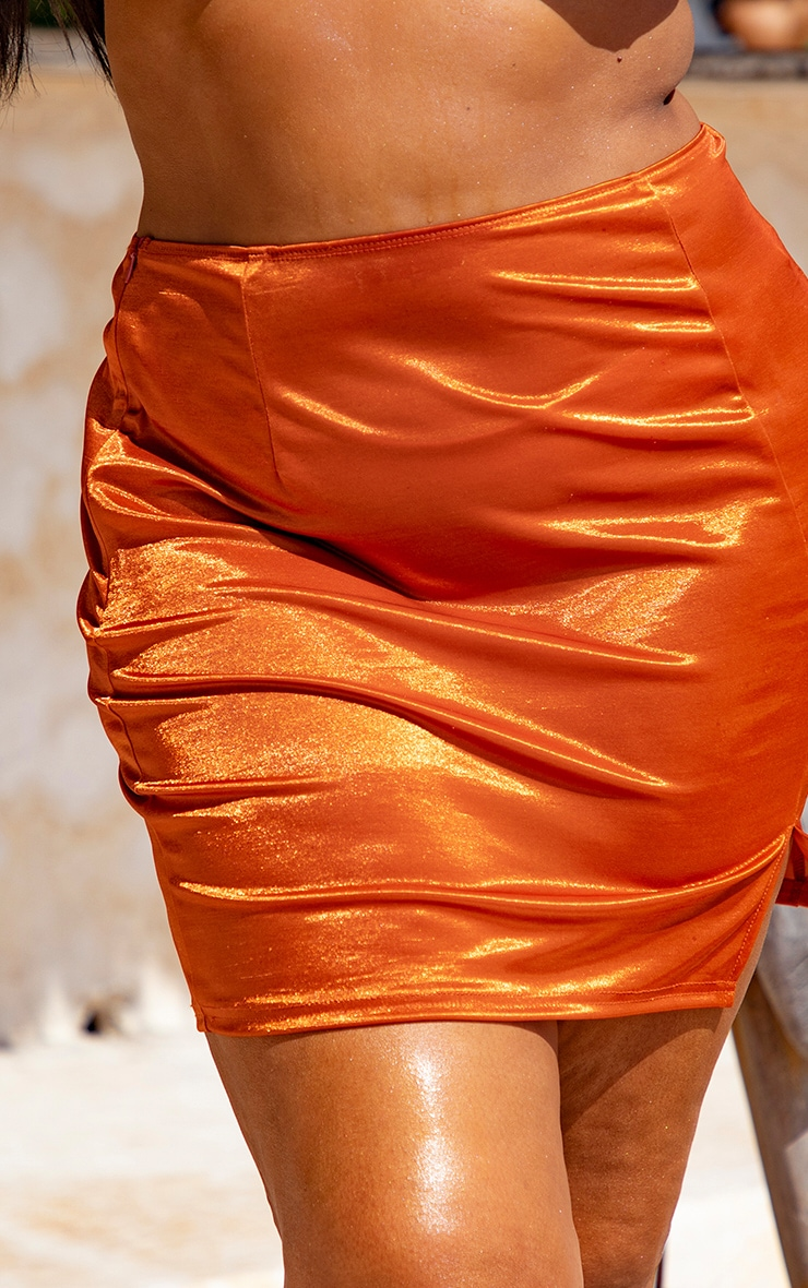 Plus Orange Metallic Mini Split Beach Skirt 4