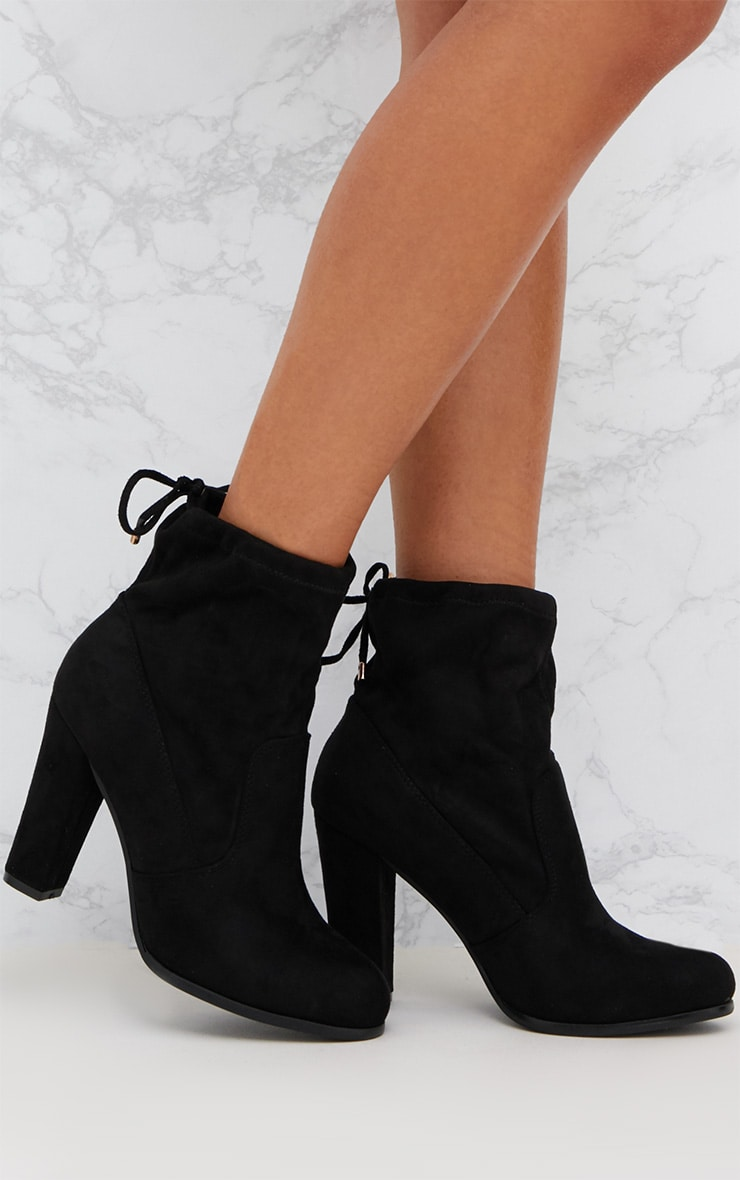 Black Faux Suede Heeled Ankle Boot 1