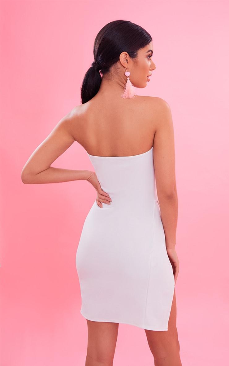 White Bandeau Extreme Split Bodycon Dress 3