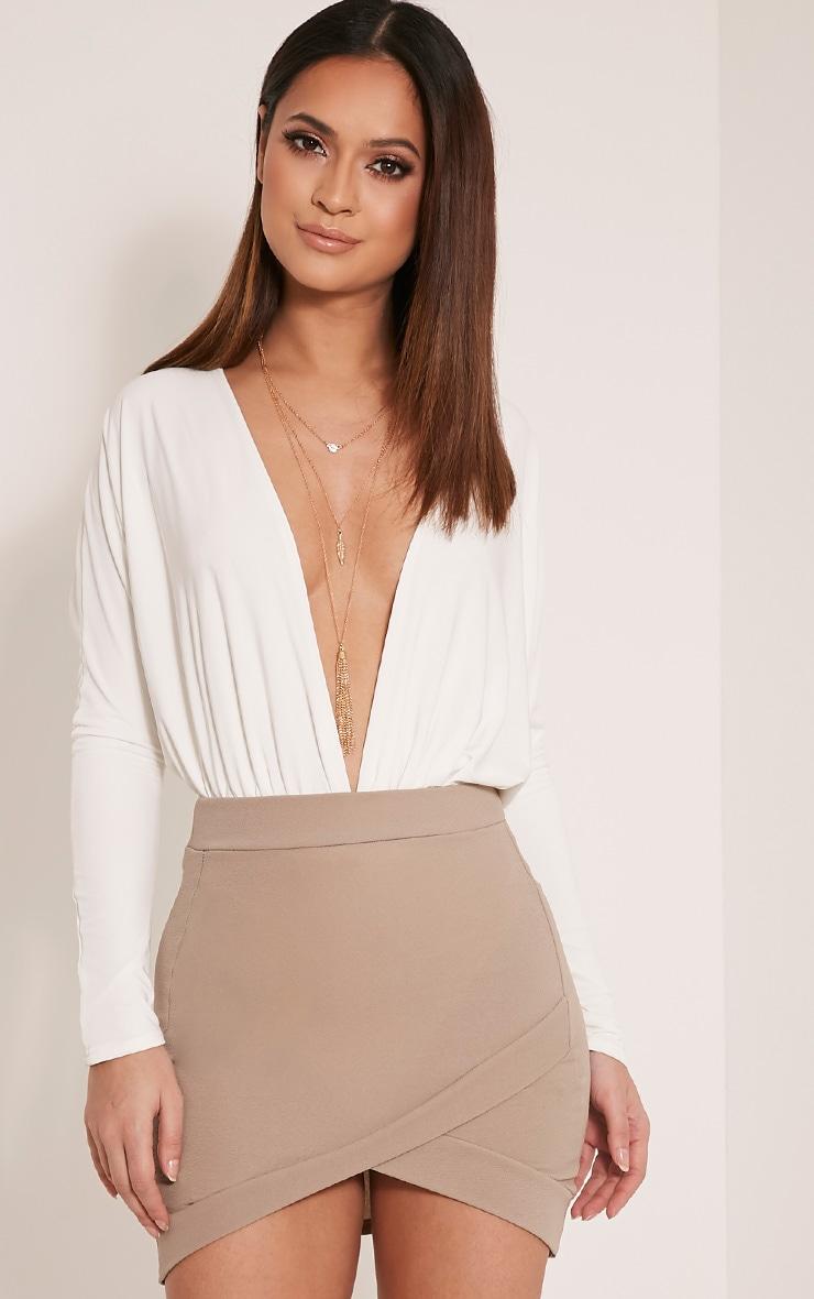 Gabriella Taupe Asymmetric Mini Skirt 1