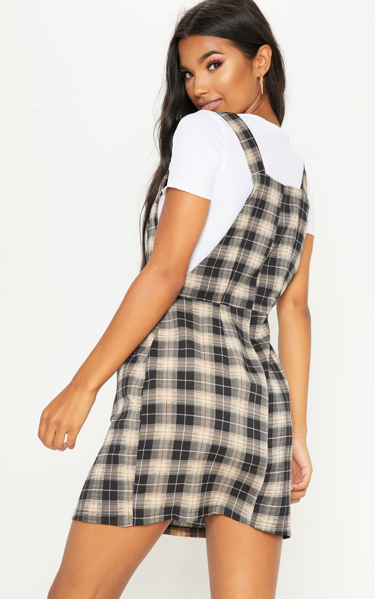Grey Check Covered Button Pinafore Shift Dress 2