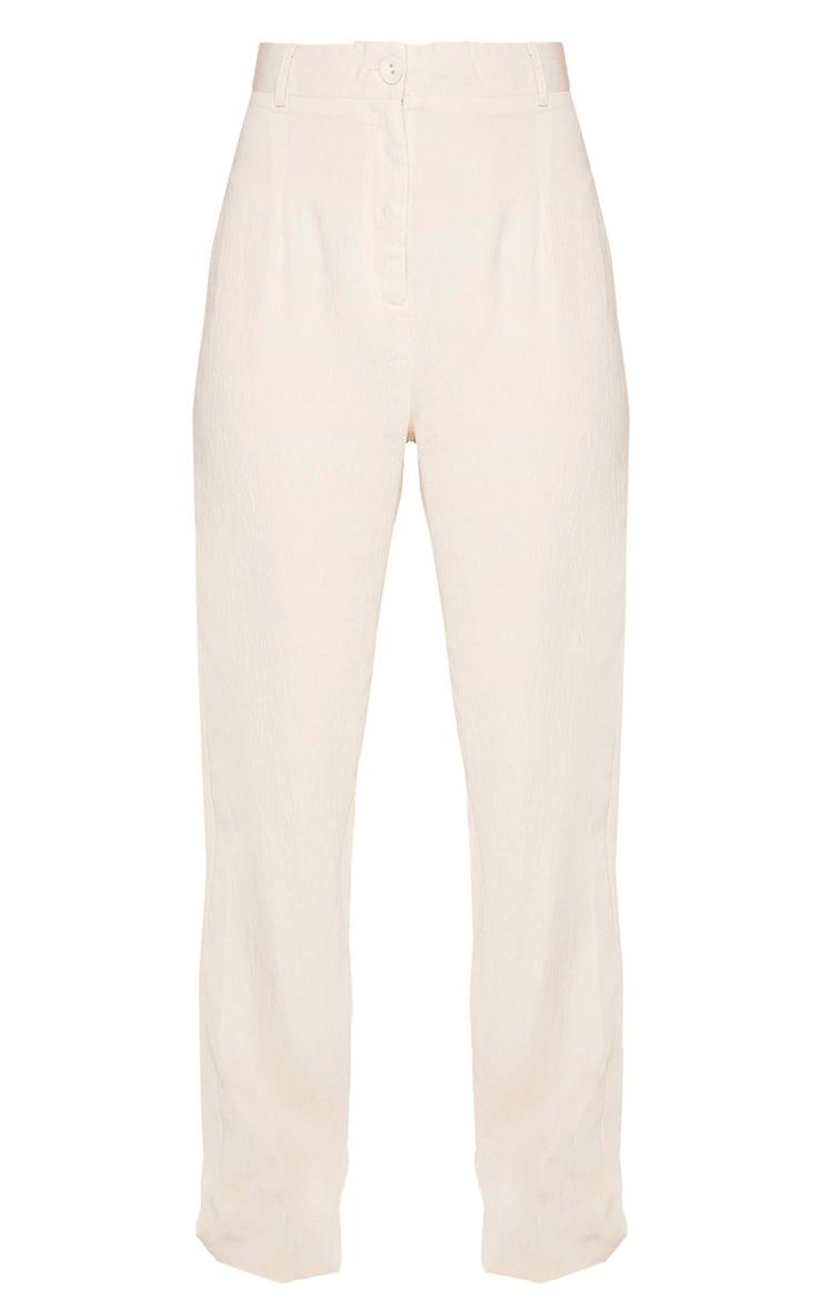 Stone Linen Mix Button Front Straight Leg Pants 3