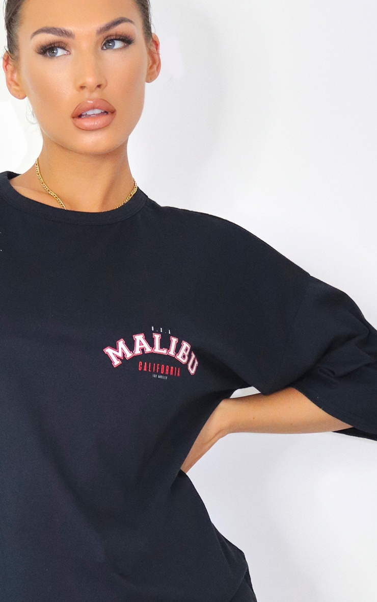 Black Malibu Slogan Boyfriend T Shirt Dress 3