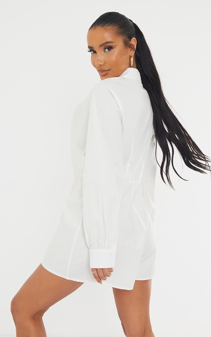White Cotton Poplin Flared Short Shirt Romper 2
