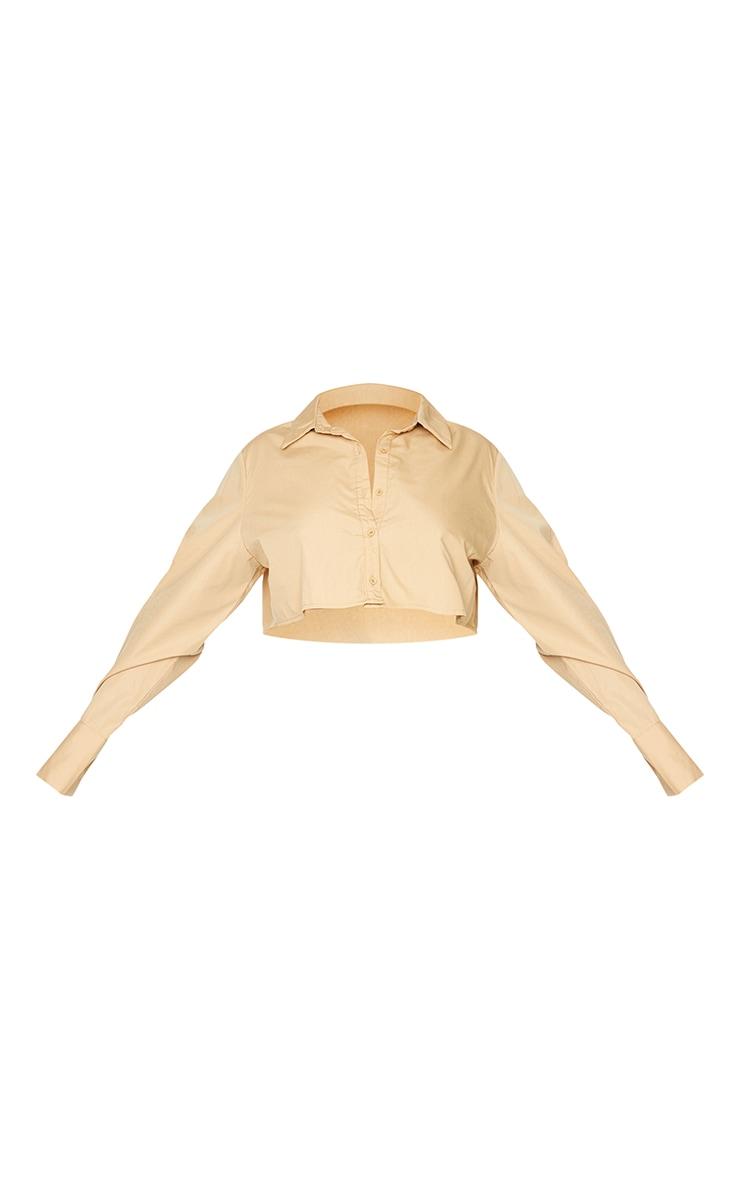 Plus Camel Cotton Oversized Crop Shirt 5