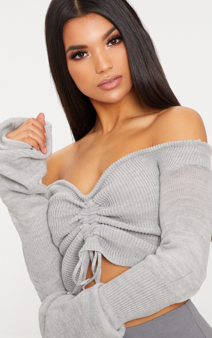 Grey Ruched Knit Extreme Sleeve Crop Sweater 5