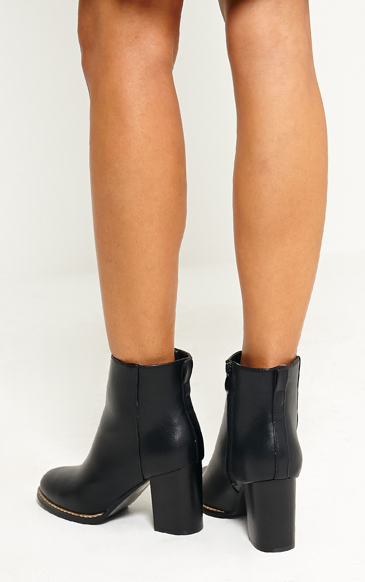Elana Black Faux Leather Heeled Ankle Boots 2