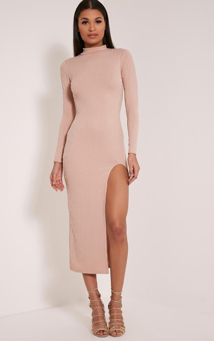 Sia Taupe High Neck Split Front Ribbed Midi Dress 1