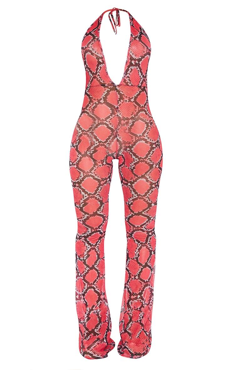 Plus Pink Snake Print Mesh Halterneck Jumpsuit 3