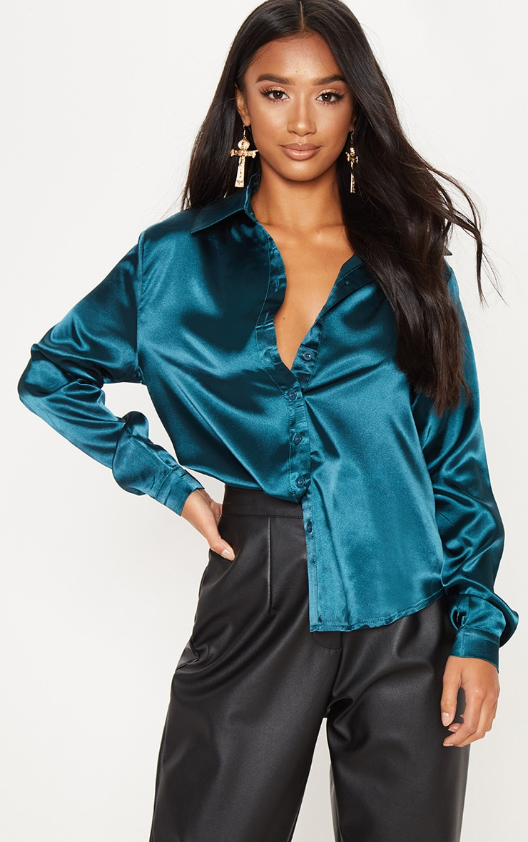 Petite Emerald Green Satin Shirt 1