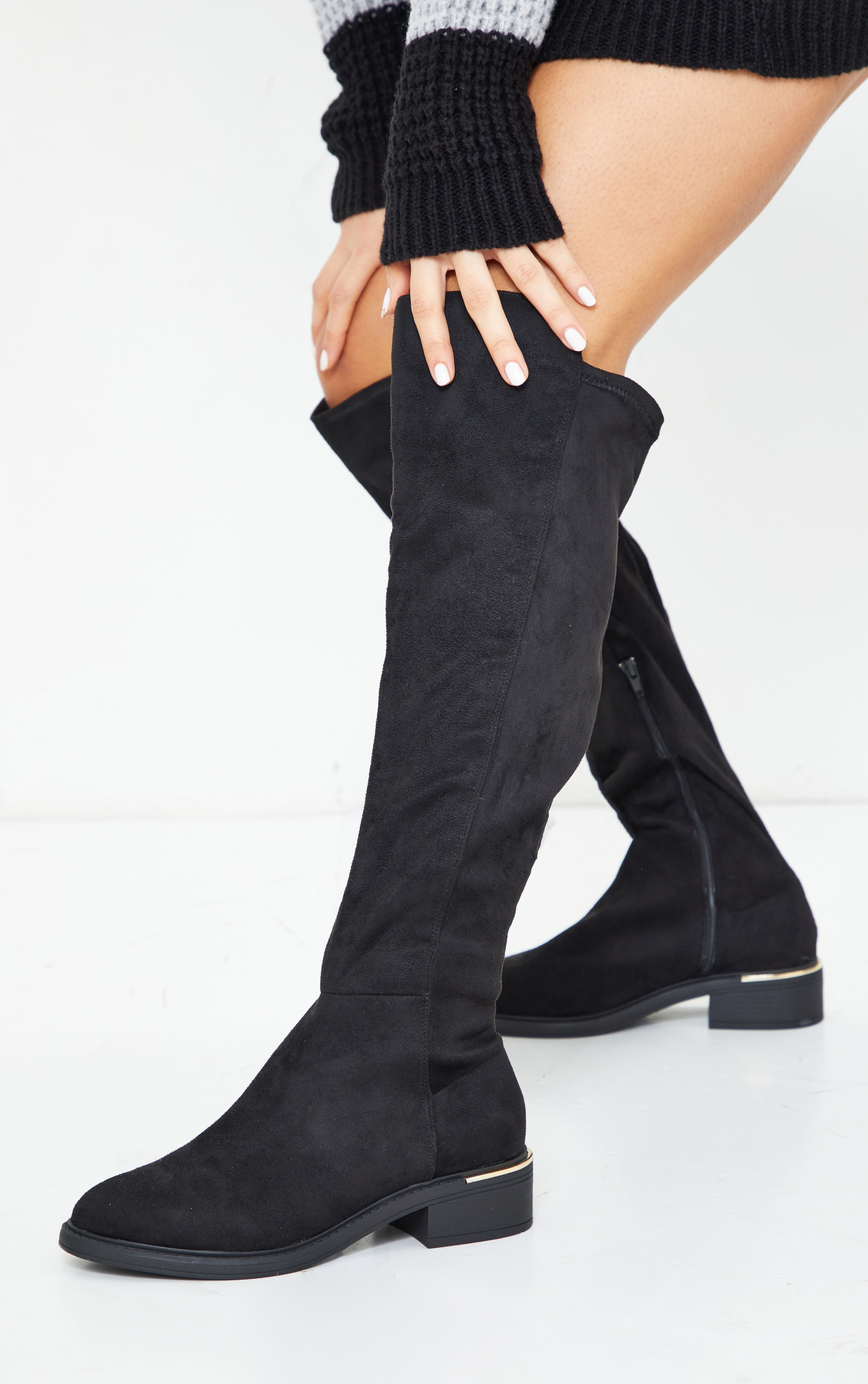 Black Wide Fit Faux Suede Knee High Boots 1
