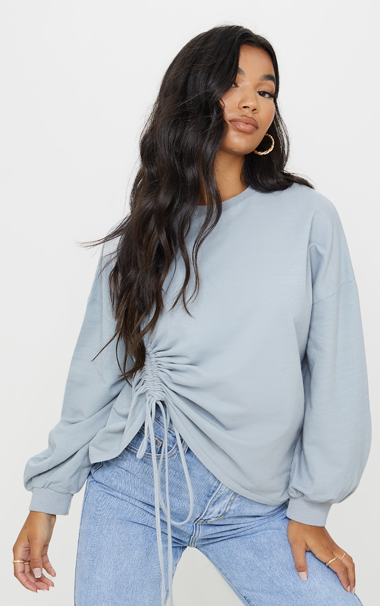 Grey Drawstring Ruched Side Sweatshirt 1