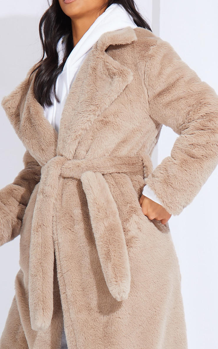 Petite Taupe Belted Faux Fur Coat 4