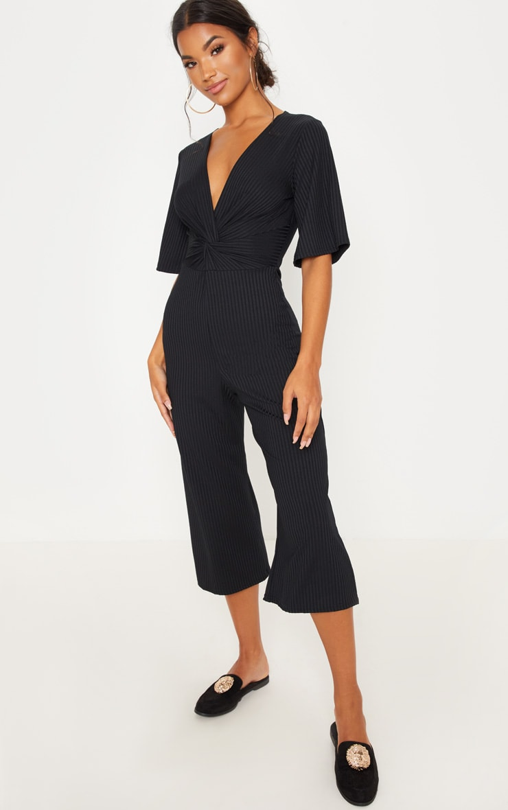 Black Ribbed Twist Detail Culotte Jumpsuit 1