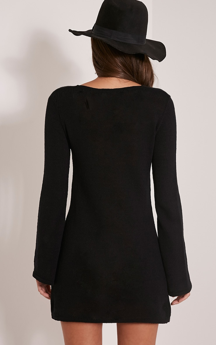 Nena Black Knitted Bell Sleeve Dress 2