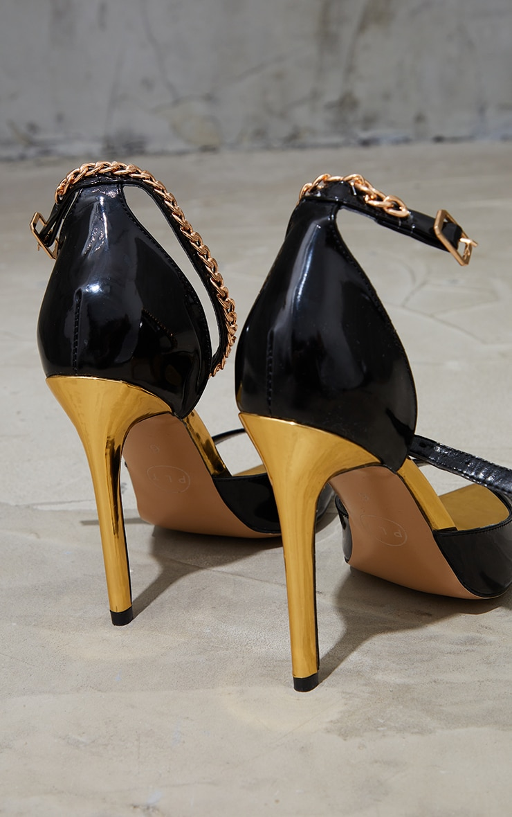 Black PU Pointed Chain Detail High Heels 4