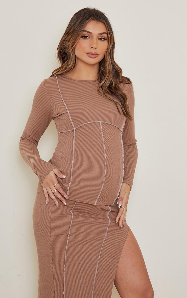 Maternity Brown Crinkle Rib Seam Detail Long Sleeve Top 1