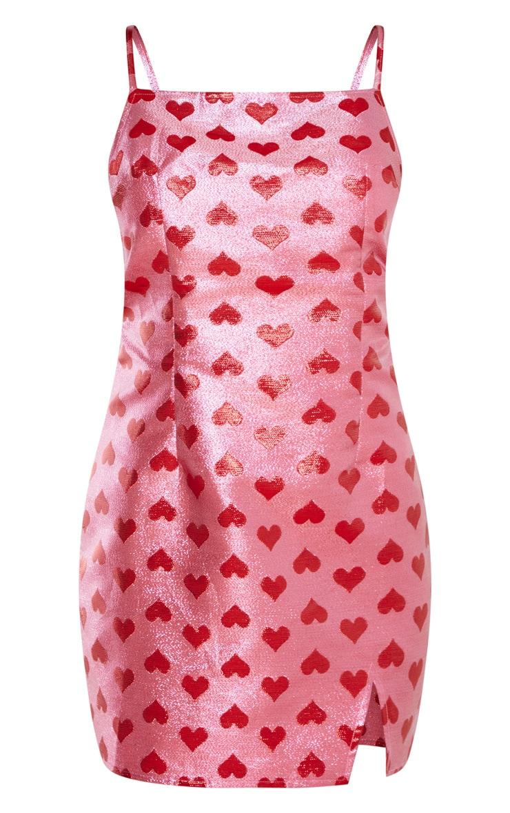 Pink Metallic Love Heart Bodycon Dress 3