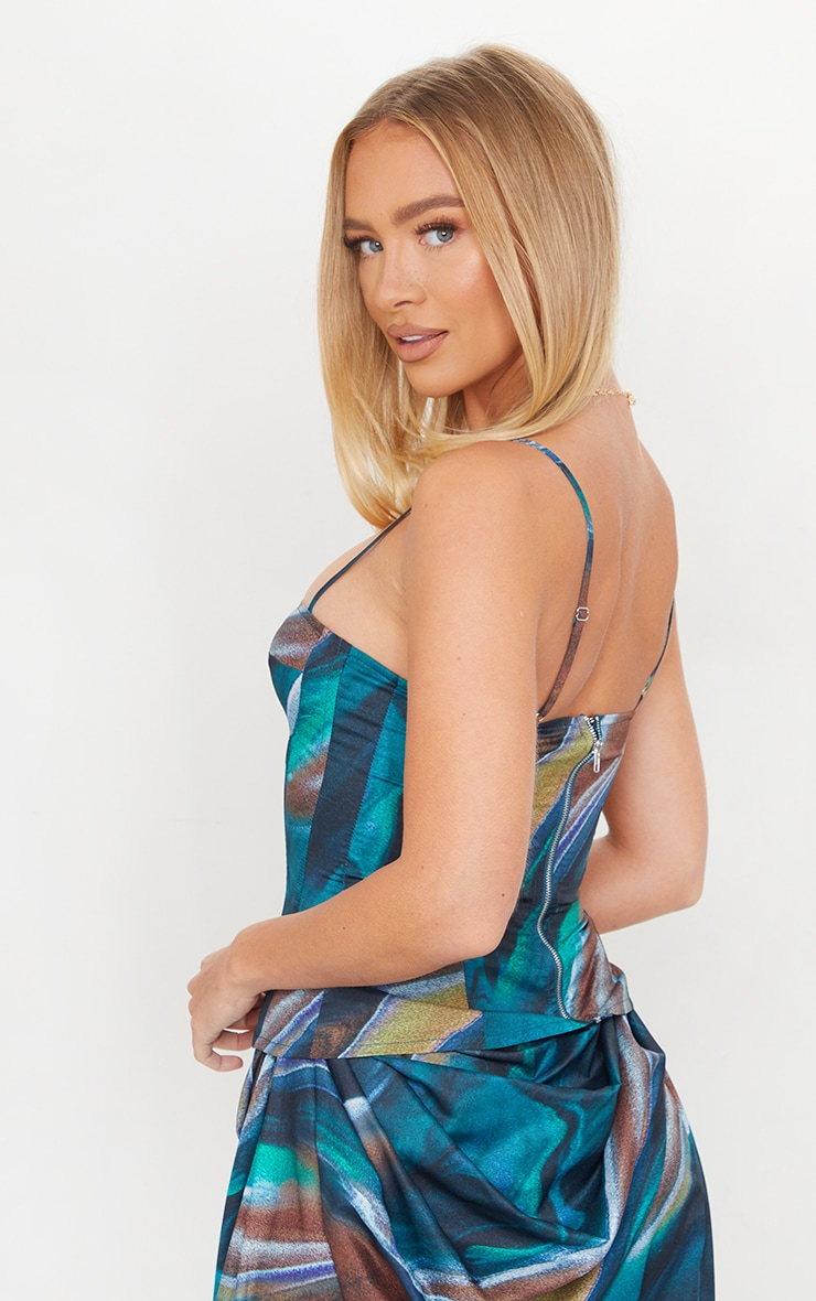 Turquoise Marble Print Structured Corset Top 2