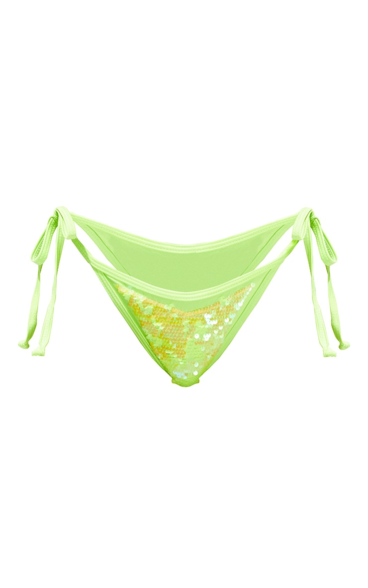 Lime Sequin Tie Side Bikini Bottoms 5