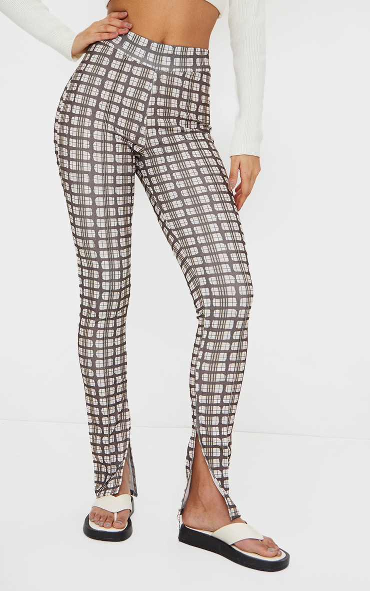 Brown Check Split Hem Detail Skinny Trousers 2