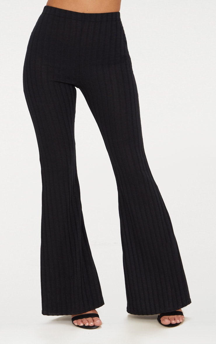 Petite - Pantalon flare noir côtelé 2