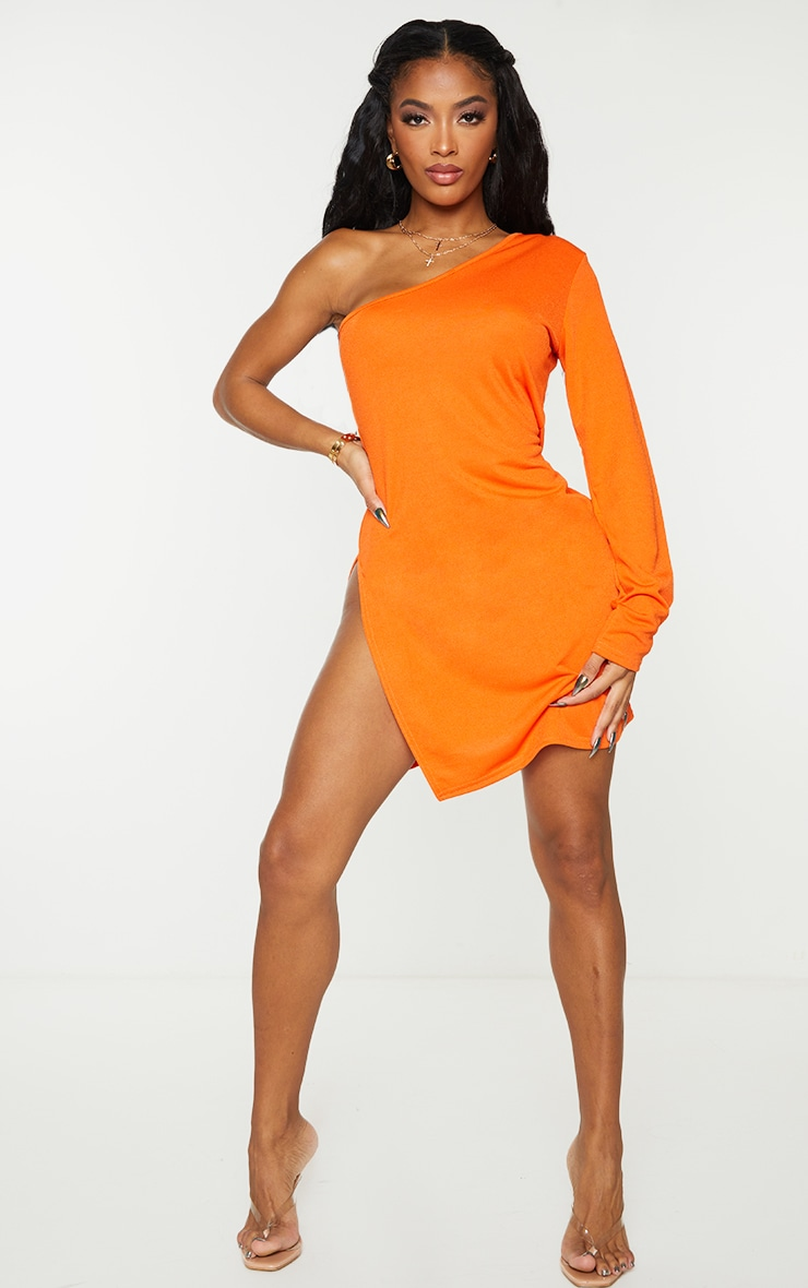 Shape Orange One Shoulder Split Bodycon Dress 3