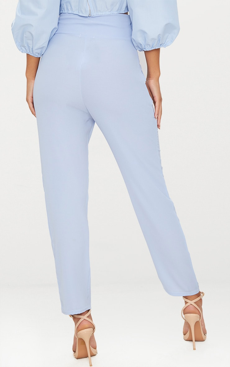 Blue Pebble Crepe Tie Waist Cigarette Trouser 4