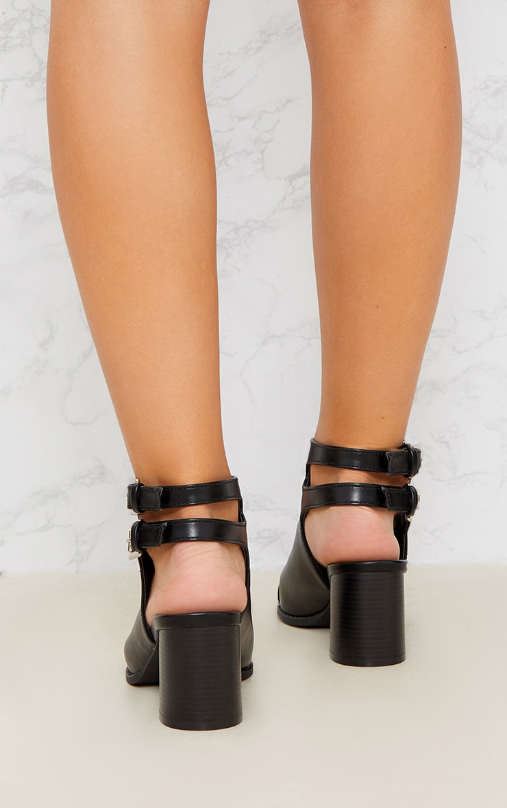 Black Buckle Cut Out Studded Ankle Boot 3