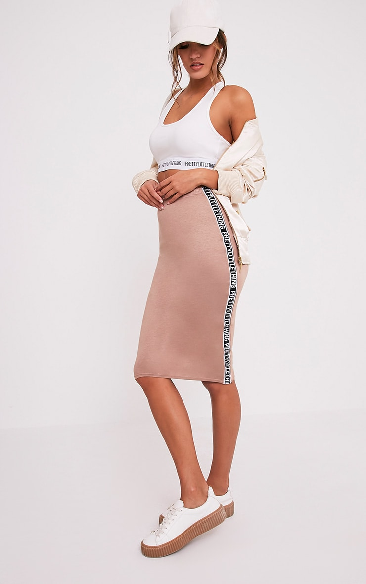 PRETTYLITTLETHING Side Panel Camel Midi Skirt 1