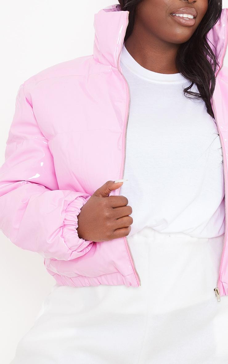 Plus Pink Vinyl Puffer Coat 4