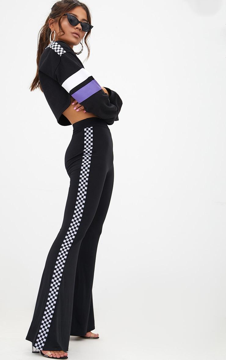 Petite Black Slinky Checkerboard Trim Flared Trousers 1