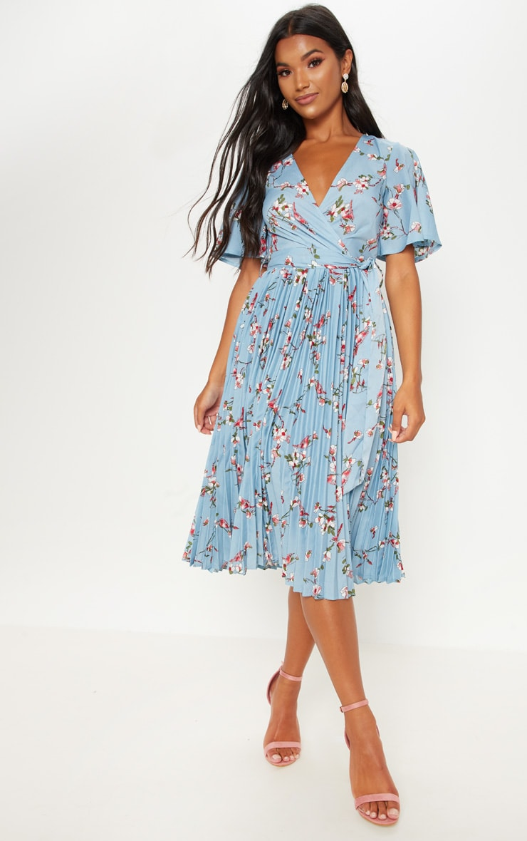 Dusty Blue Floral Pleated Midi Dress 4