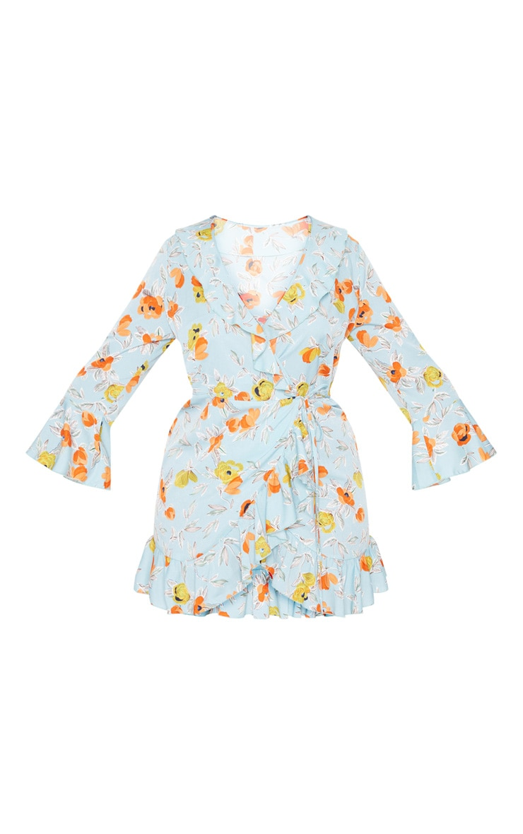 Plus Turquoise Floral Printed Frill Wrap Tea Dress 3