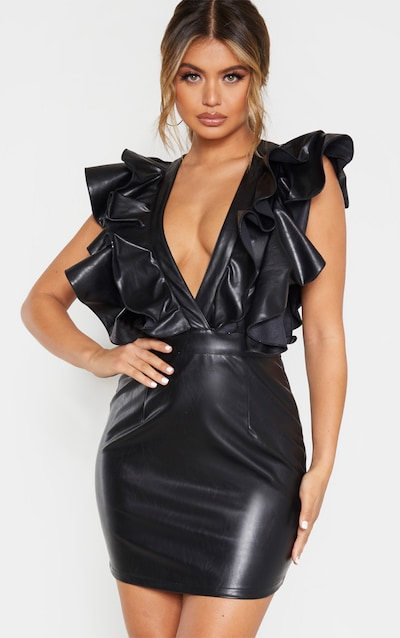 Black Faux Leather Ruffle Detail Bodycon Dress