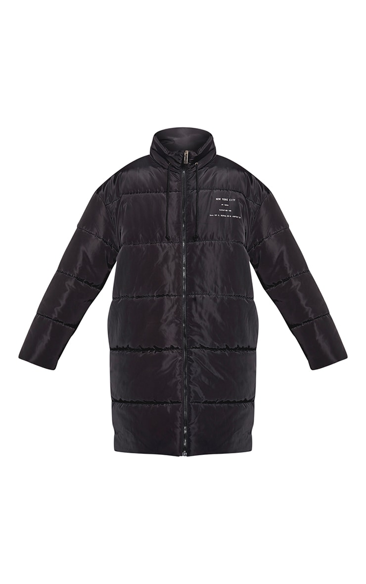 Plus Black Slogan Midi Puffer Coat 3