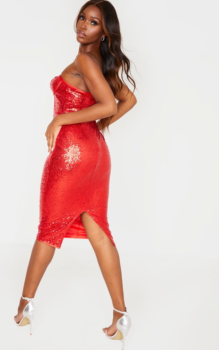 Red Sequin Binding Detail Midi Dress 2