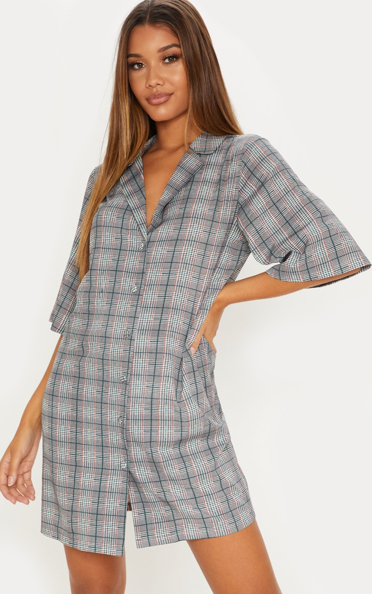 Grey Check Short Sleeve Shirt Dress