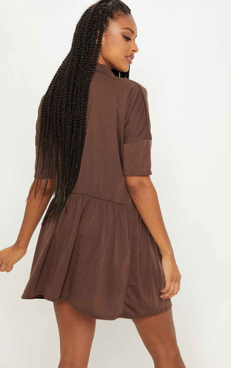Chocolate High Neck Smock Dress 2