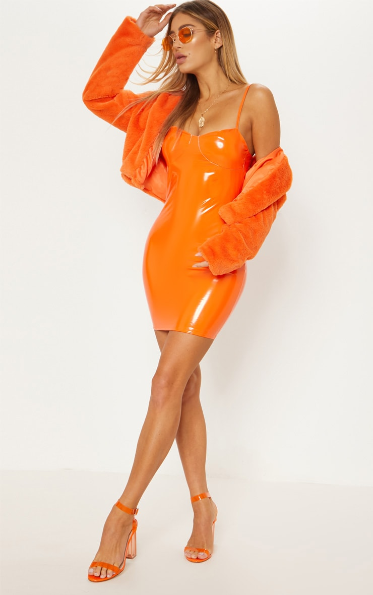 Orange Cropped Faux Fur Jacket With Hood 5