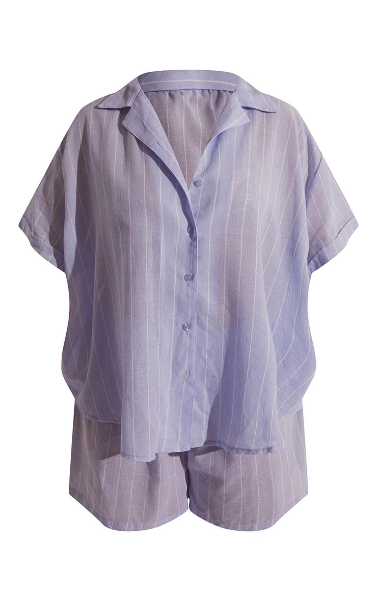 Plus Blue Wide Stripe Cotton Short Sleeve PJ Shirt 5