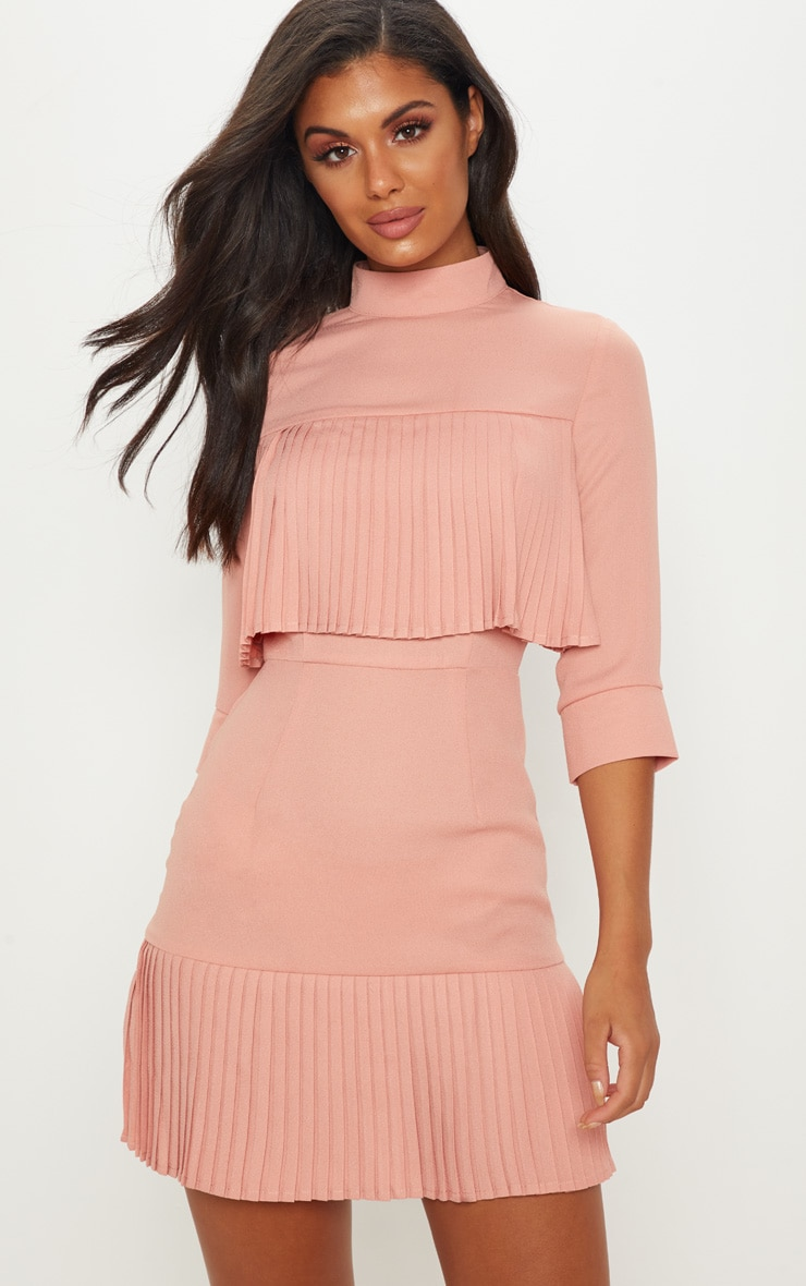 Dusty Pink Pleated Detail Frill Hem Bodycon Dress 1