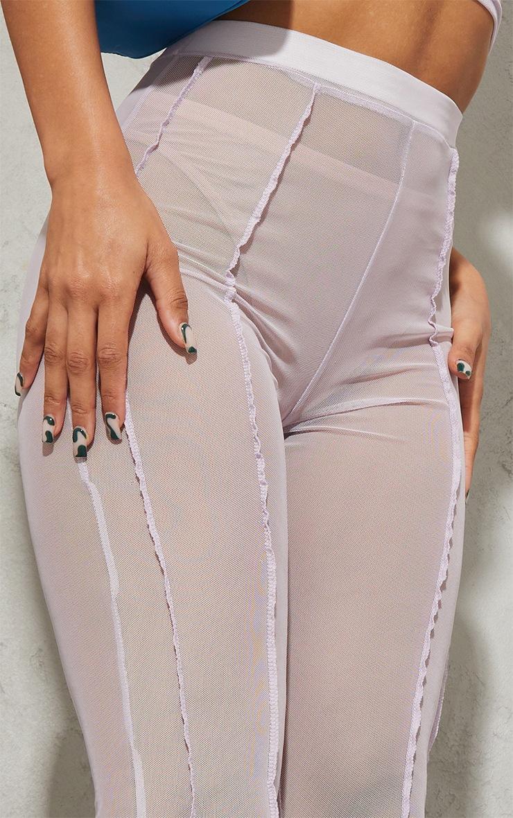 Lilac Sheer Mesh Overlock Detail Leggings 4