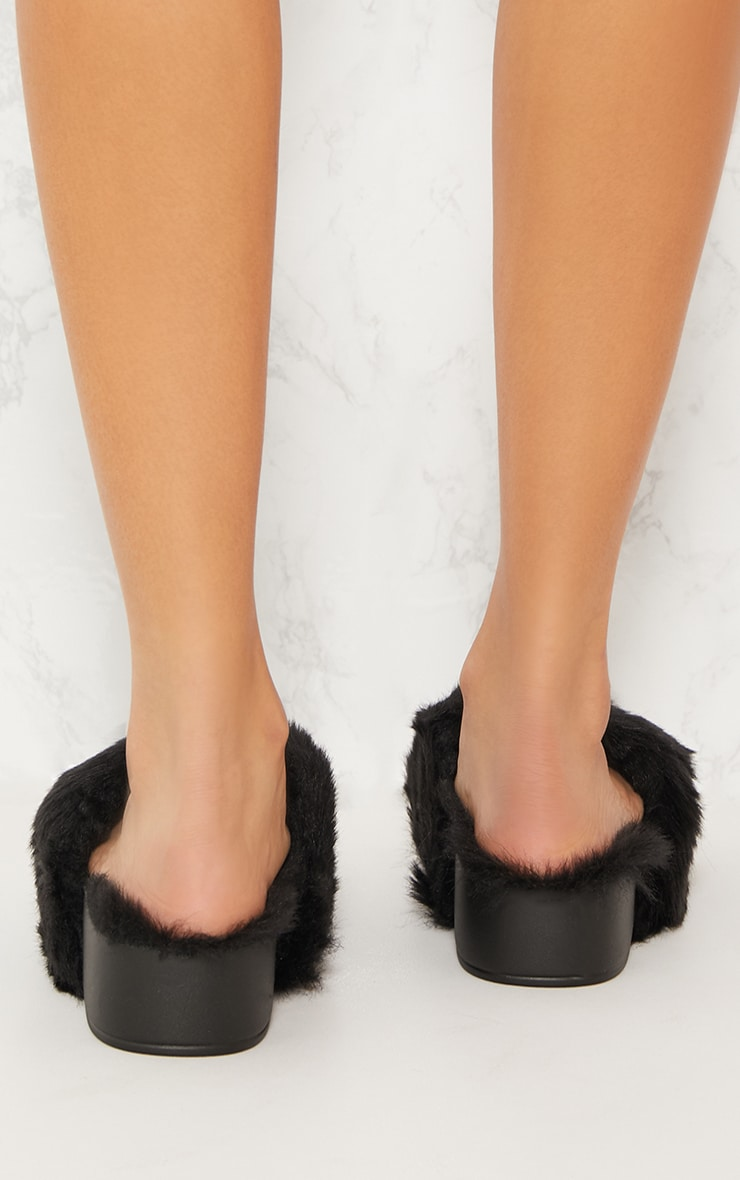 Black Faux Fur Flatform Slider 4
