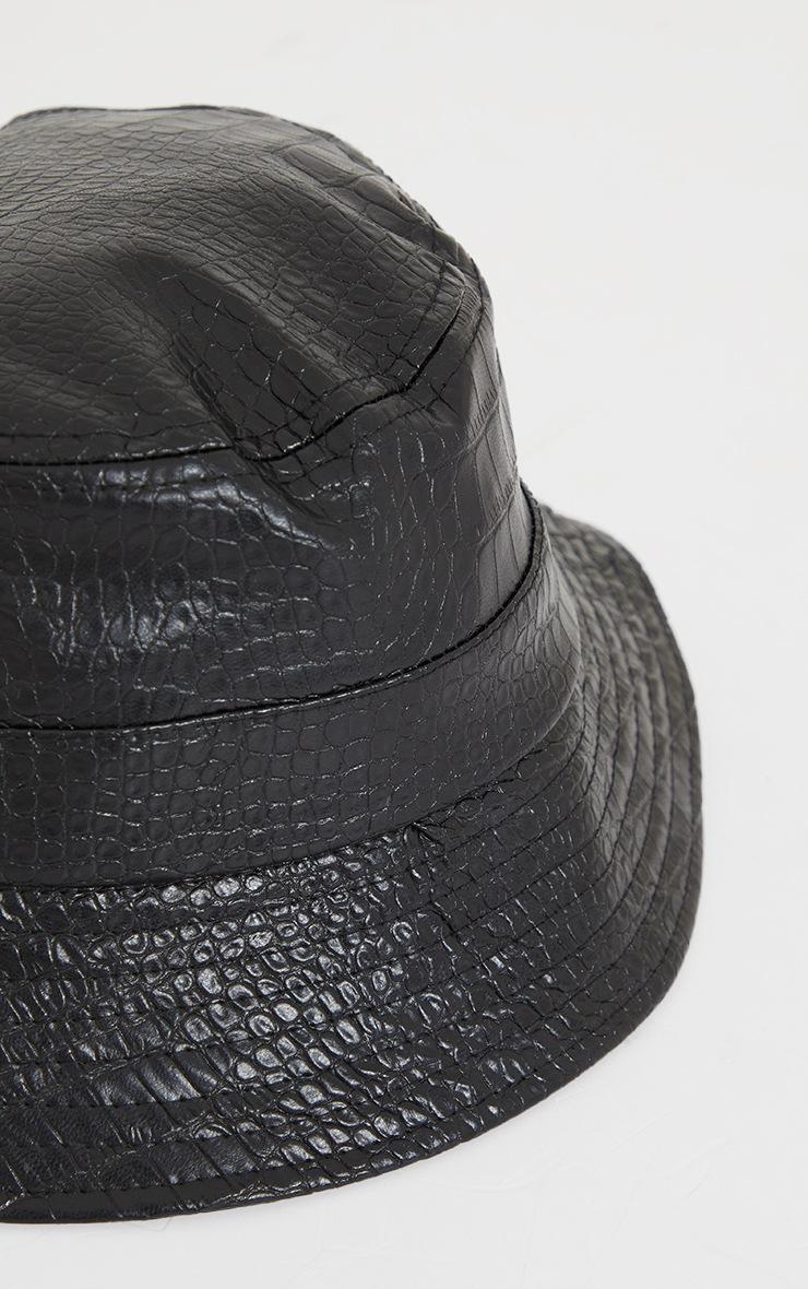 Black Croc PU Bucket Hat 3