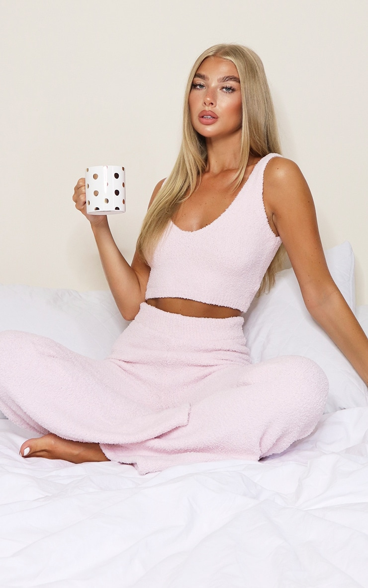 Pale Pink Chenille Bralet And Wide Leg Pant Lounge Set 1