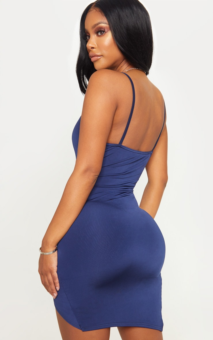 Shape Navy Ruched Side Strappy Bodycon Dress 2