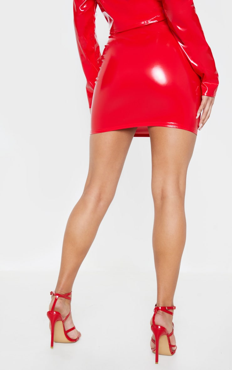 Red Vinyl Button Detail Mini Skirt Skirts