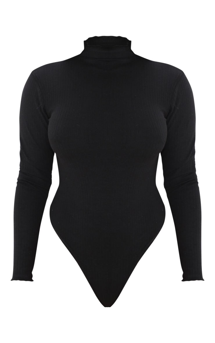Petite Black Heavy Rib Frill Edge Long Sleeve Bodysuit 3